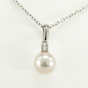 18K Mikimoto Diamond Pearl Necklace